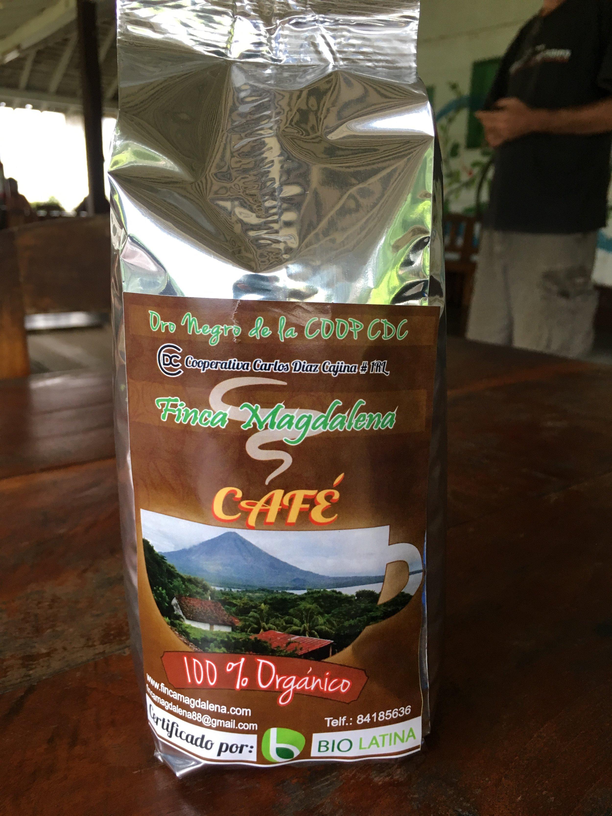 Whole bean coffee for 300 cordobas a bag