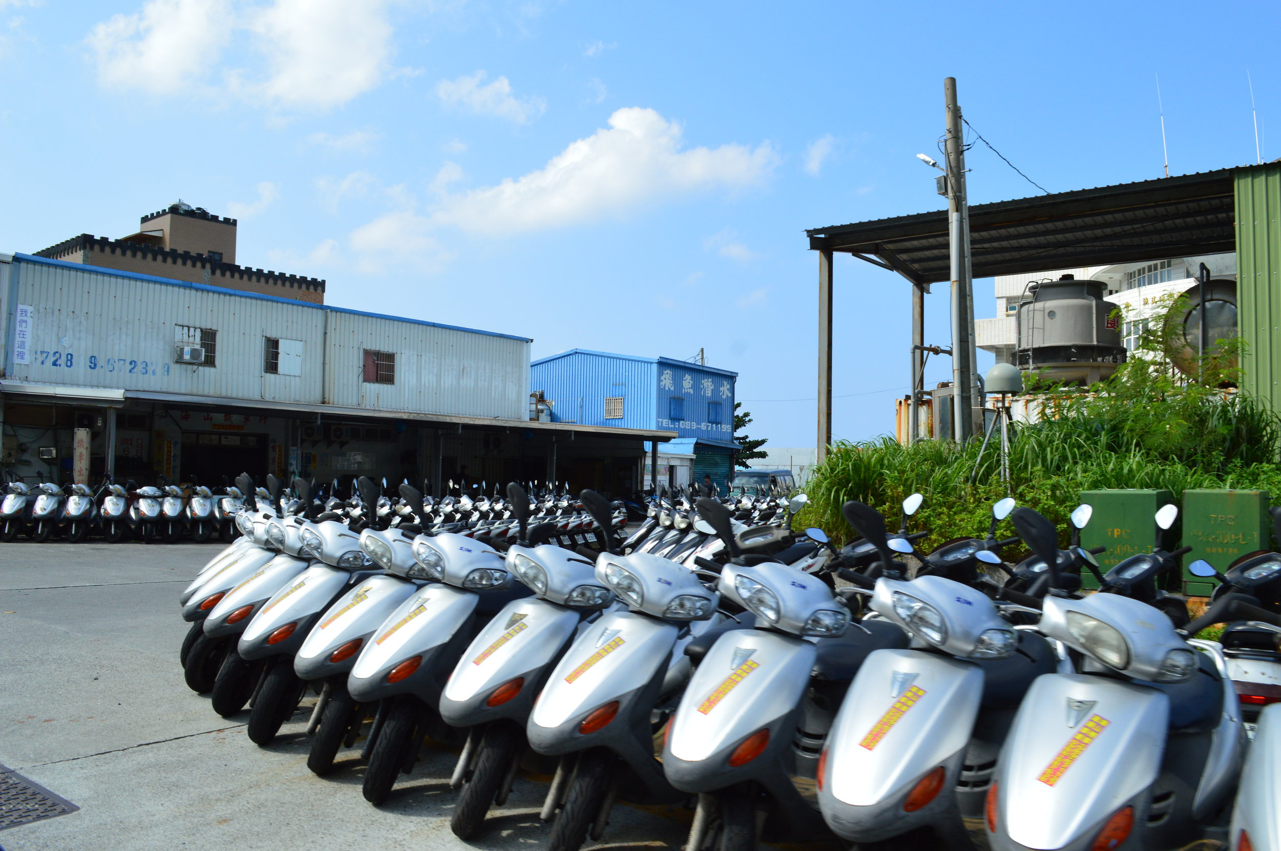 A sea of motorbikes. Green Island must be pretty popular in the summer!