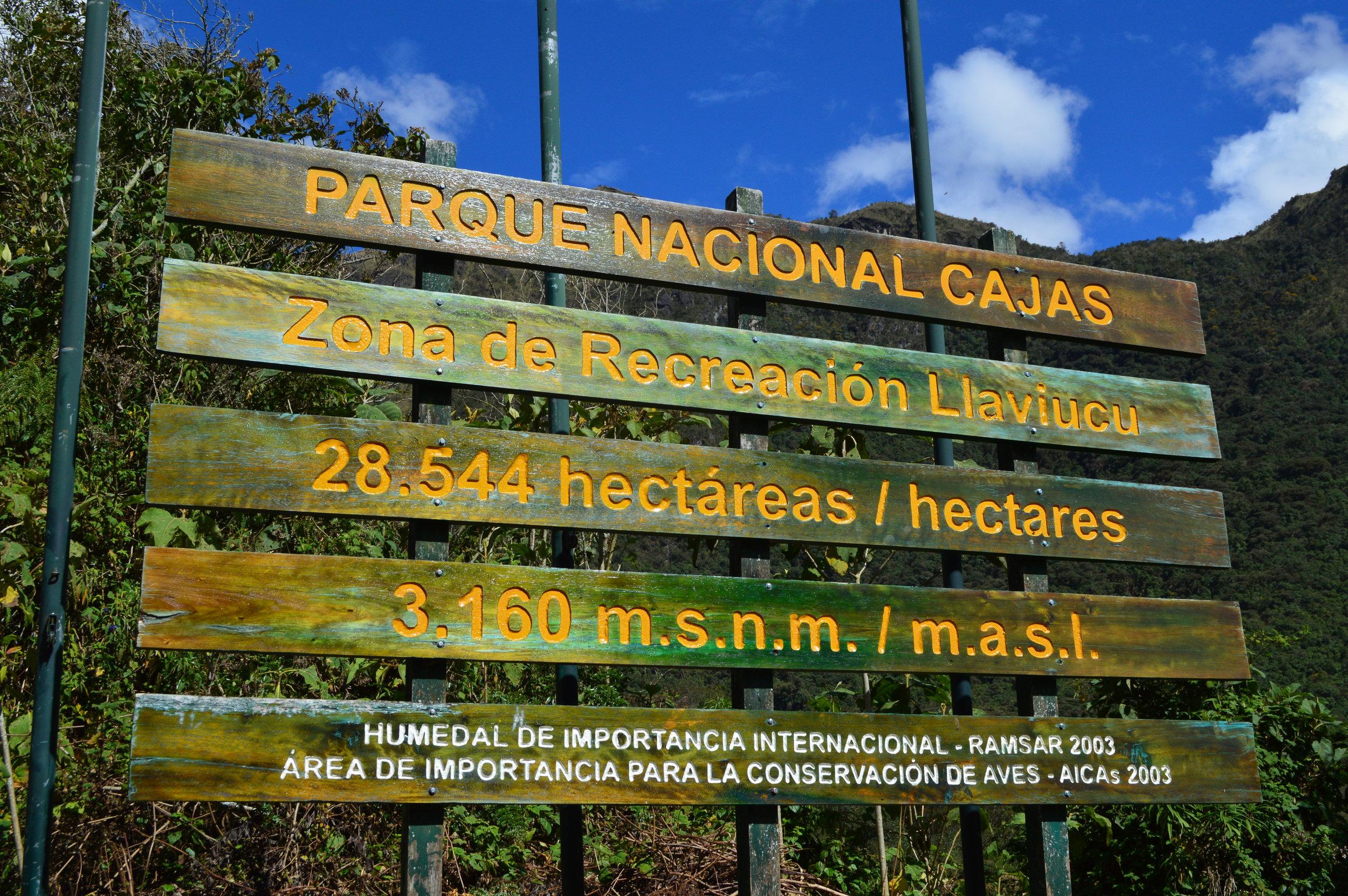 Cajas National Park entrance