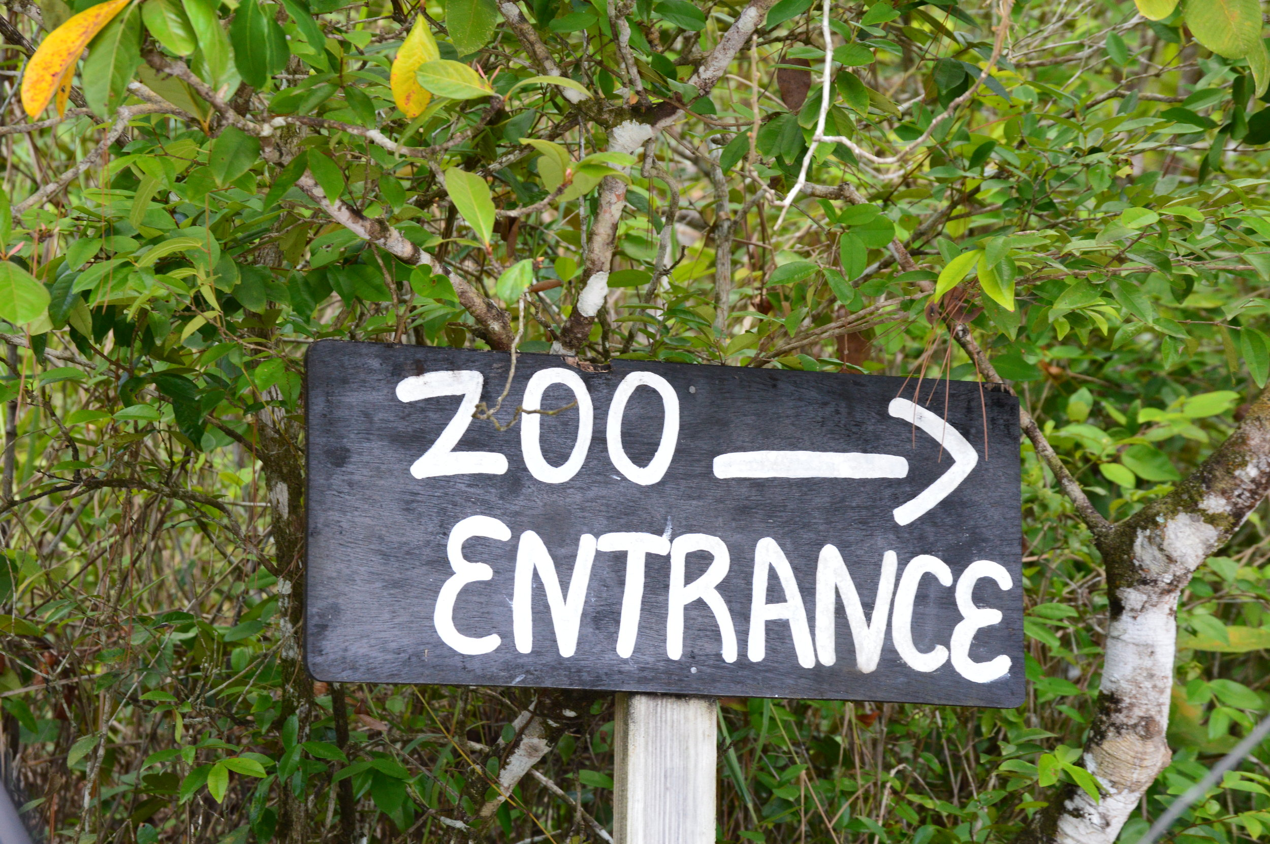 Simple sign to zoo entrance
