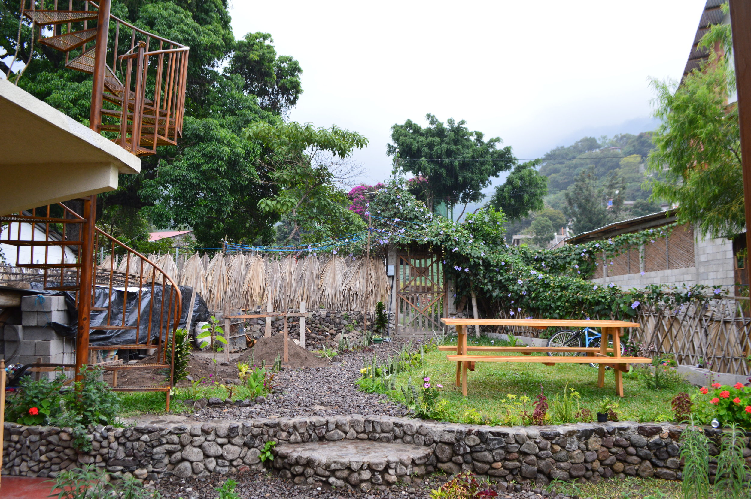 The garden area of Casa Madera, the hostel we stayed at in San Marcos.