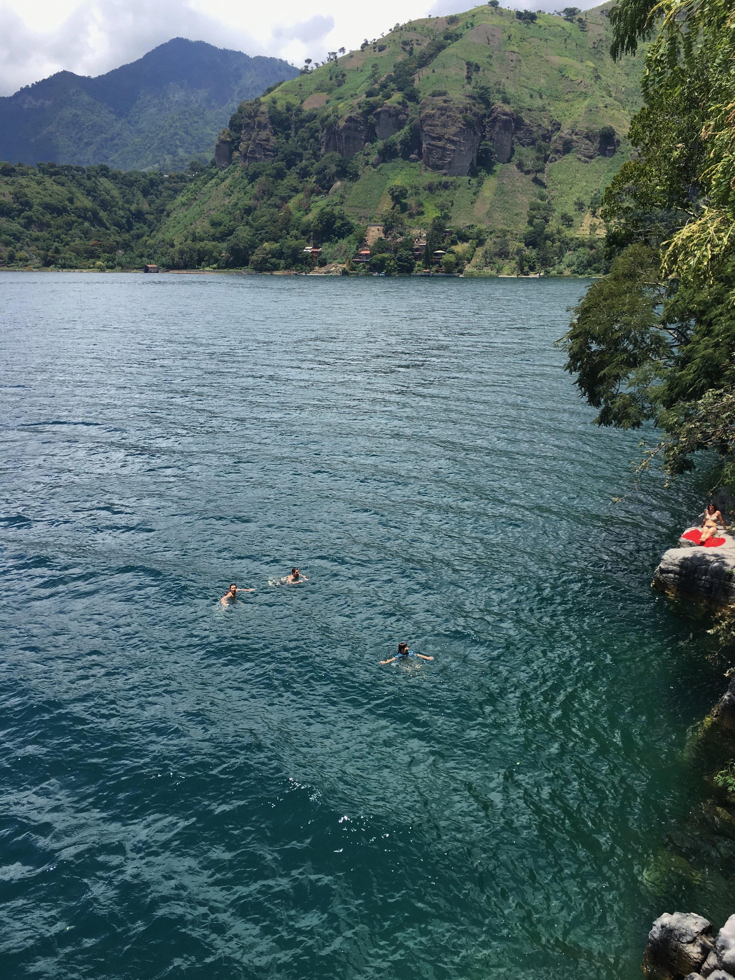 People swimming below