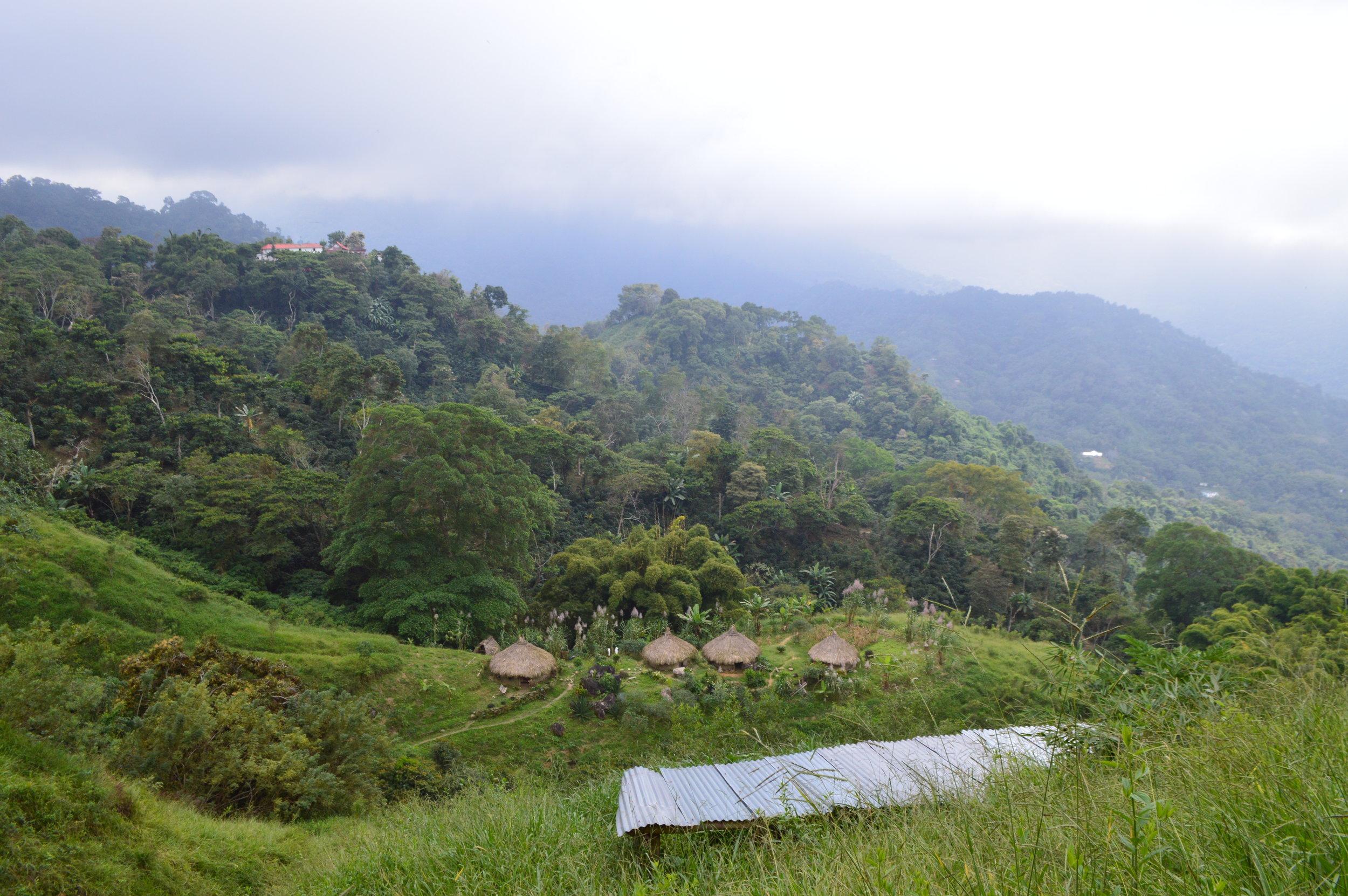 View of a village below Nuevo Mundo