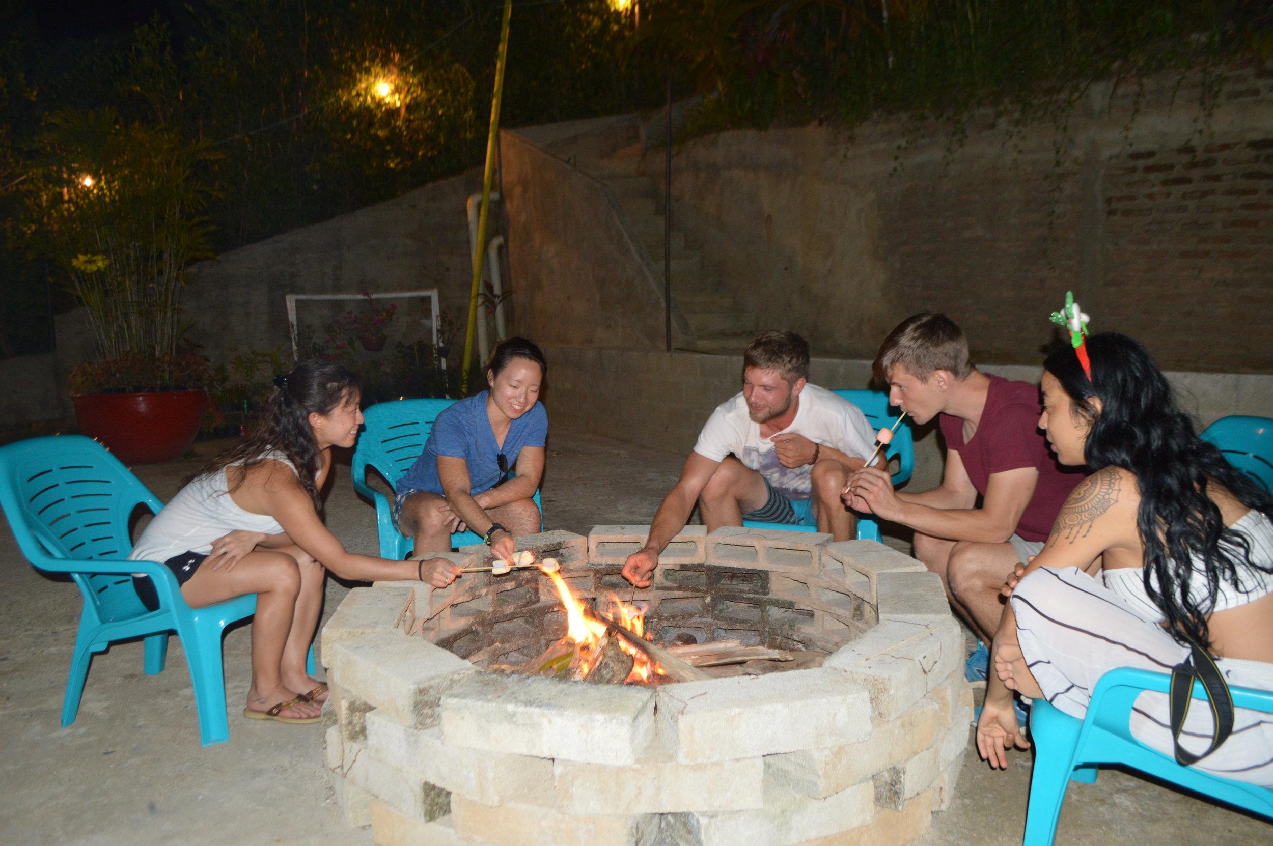 Bonfire in the courtyard