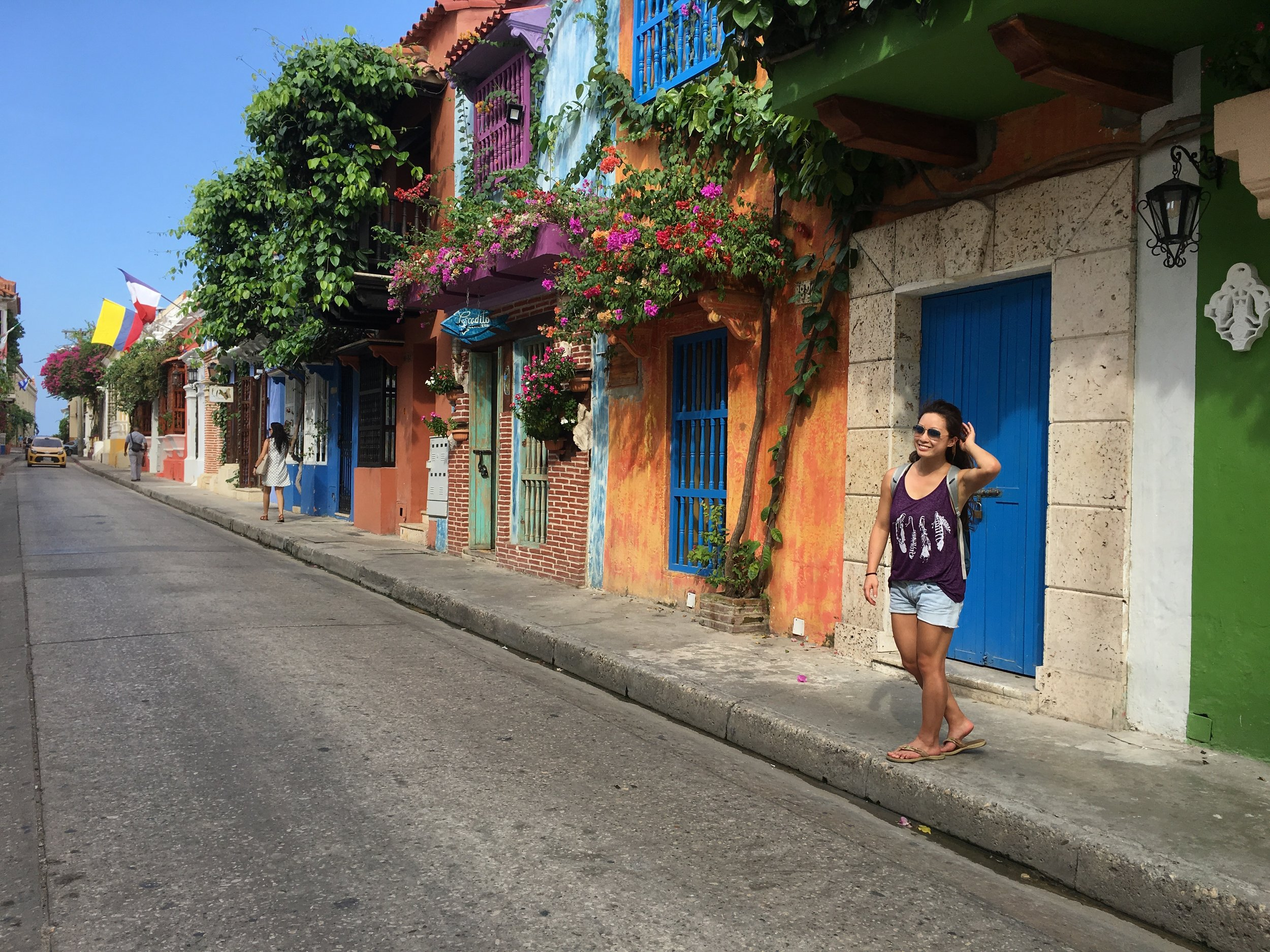 Beautiful flowers adorning colorful houses in the streets