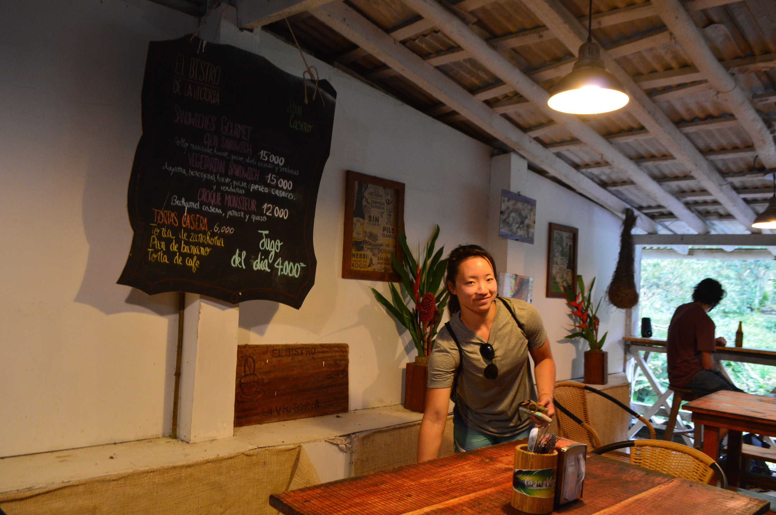 Cafeteria area of Finca La Victoria