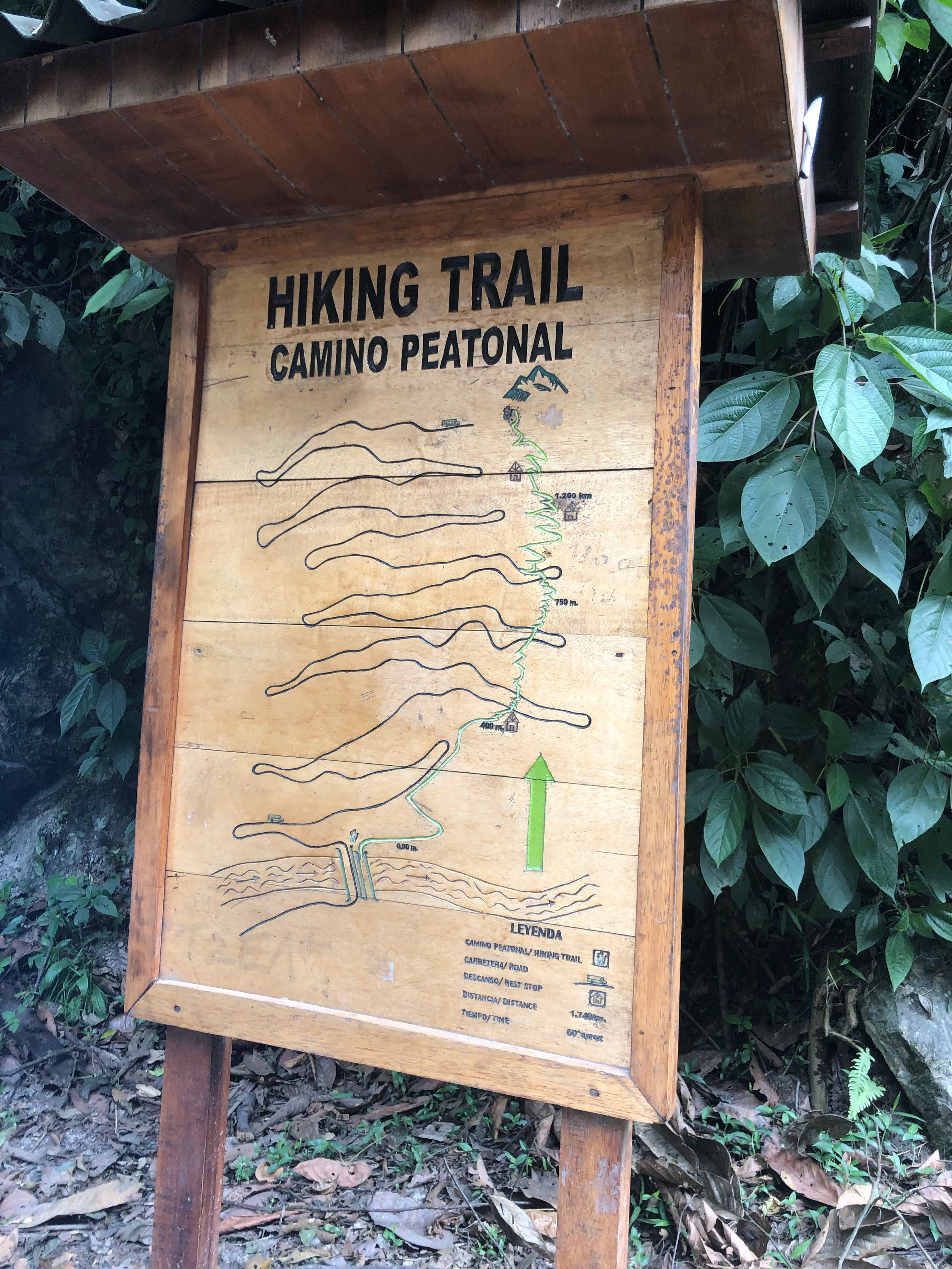 Hiking Trail Map (main road for vehicles in black, hiking trail in green)