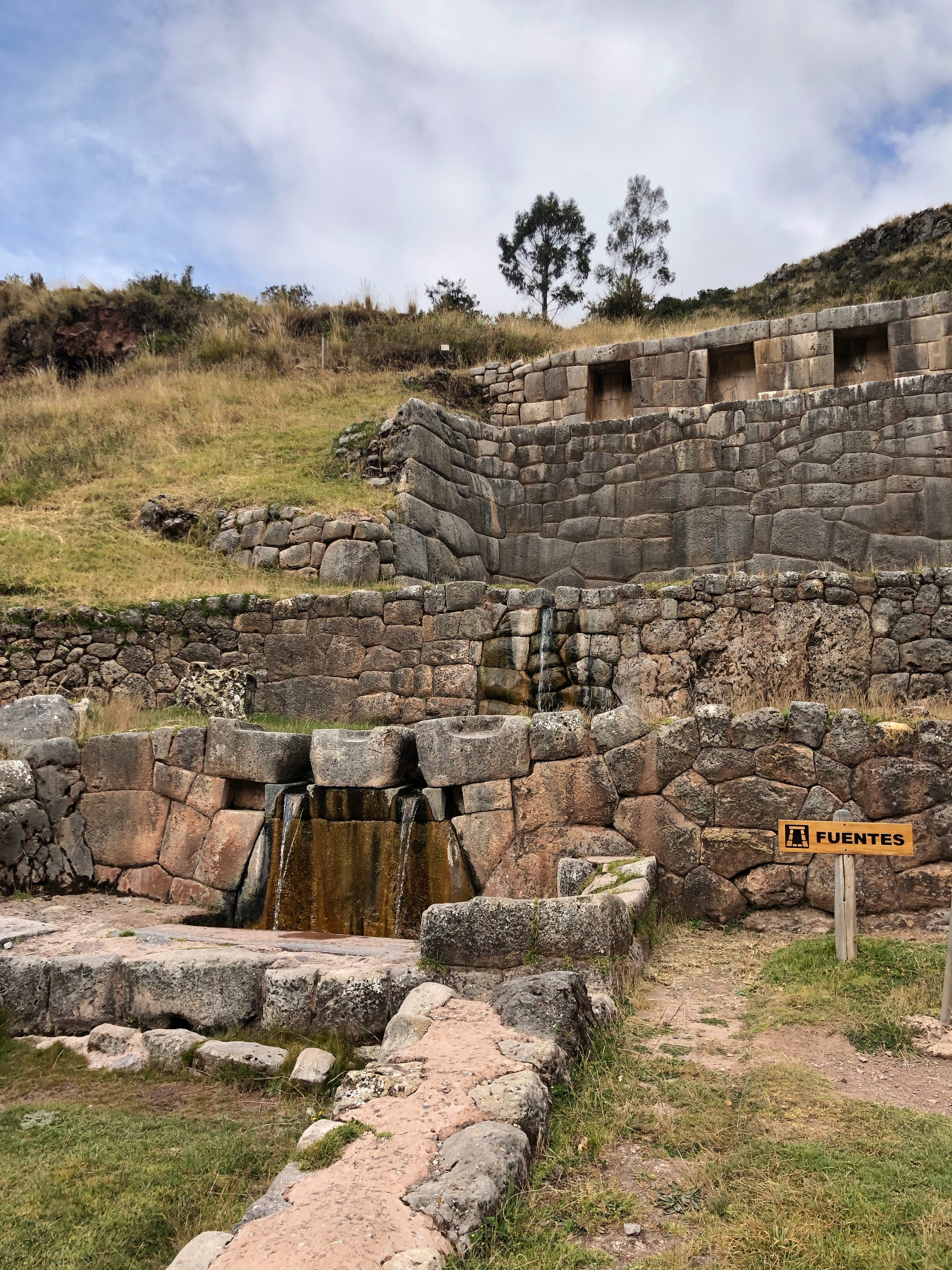 Water still flowing through the ancient aqueducts of Tambomachay