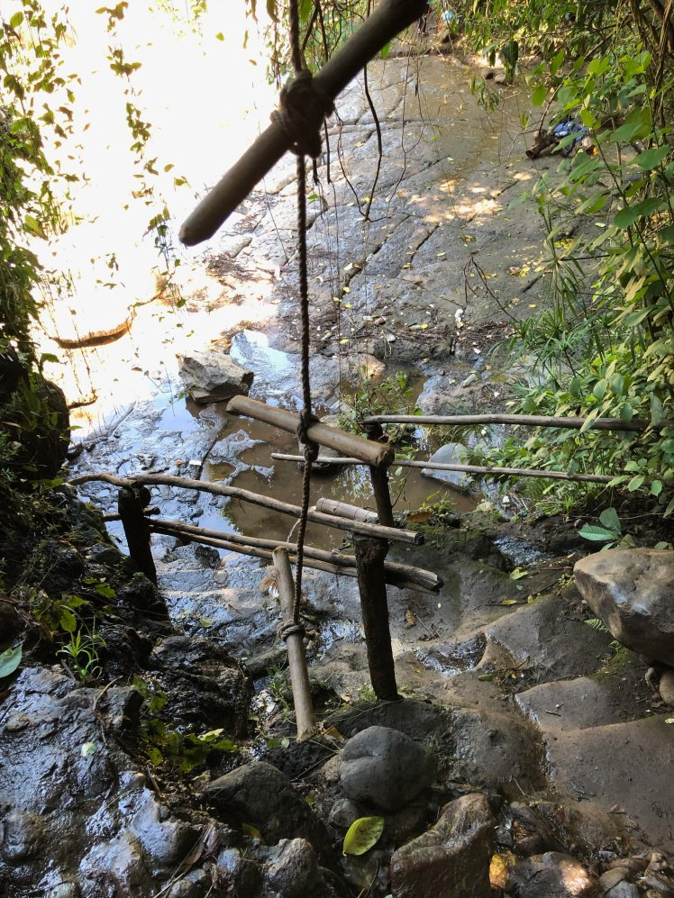 Steps to get below the waterfall